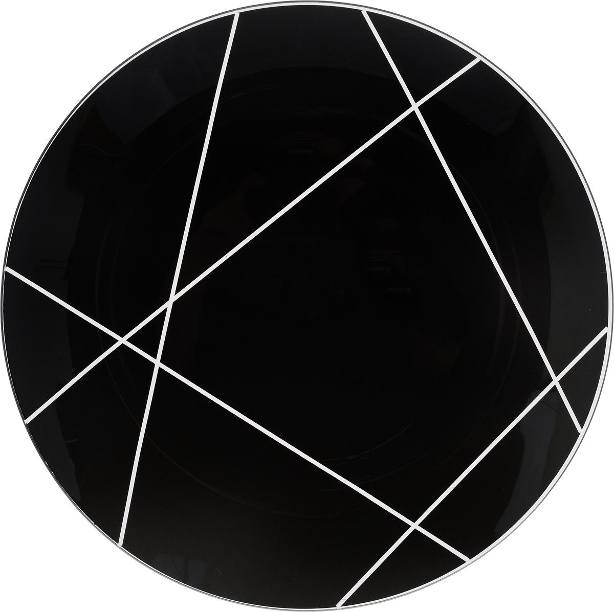 Тарелка NiNaGlass Контур, цвет: черный, диаметр 30 см85-300-002/чернТарелка NiNaGlass Контур выполнена из высококачественного стекла и оформлена красивым прозрачным геометрическим принтом. Тарелка идеальна для подачи вторых блюд, а также сервировки закусок, нарезок, салатов, овощей и фруктов. Она отлично подойдет как для повседневных, так и для торжественных случаев. Такая тарелка прекрасно впишется в интерьер вашей кухни и станет достойным дополнением к кухонному инвентарю.