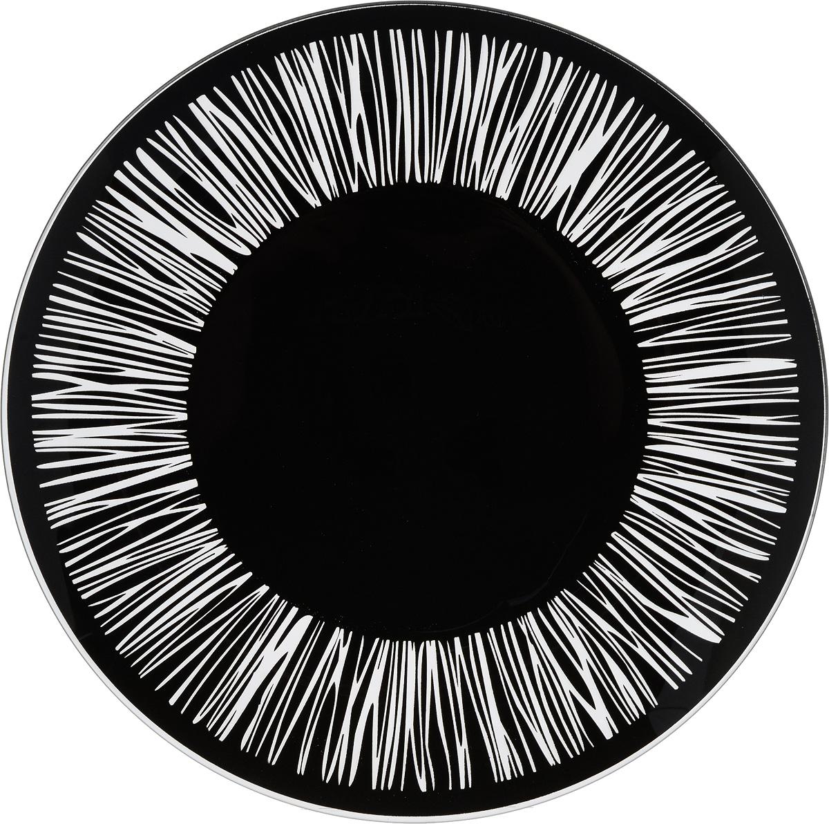 Тарелка NiNaGlass Витас, цвет: черный, диаметр 30 см85-300-016/чернТарелка NiNaGlass Витас выполнена из высококачественного стекла и оформлена оригинальным узором. Тарелка идеальна для сервировки закусок, нарезок, салатов, овощей и фруктов. Она отлично подойдет как для повседневных, так и для торжественных случаев. Такая тарелка прекрасно впишется в интерьер вашей кухни и станет достойным дополнением к кухонному инвентарю.