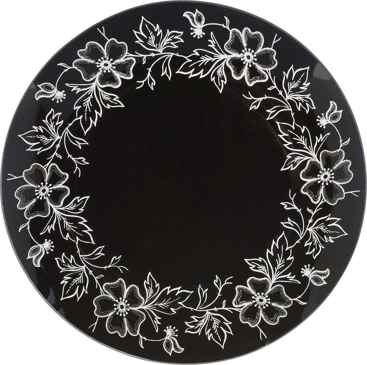 Тарелка NiNaGlass Лара, цвет: черный, диаметр 26 см85-260-075/чернТарелка NiNaGlass Лара выполнена из высококачественного стекла и оформлена красивым цветочным узором. Тарелка идеальна для подачи вторых блюд, а также сервировки закусок, нарезок, салатов, овощей и фруктов. Она отлично подойдет как для повседневных, так и для торжественных случаев. Такая тарелка прекрасно впишется в интерьер вашей кухни и станет достойным дополнением к кухонному инвентарю.