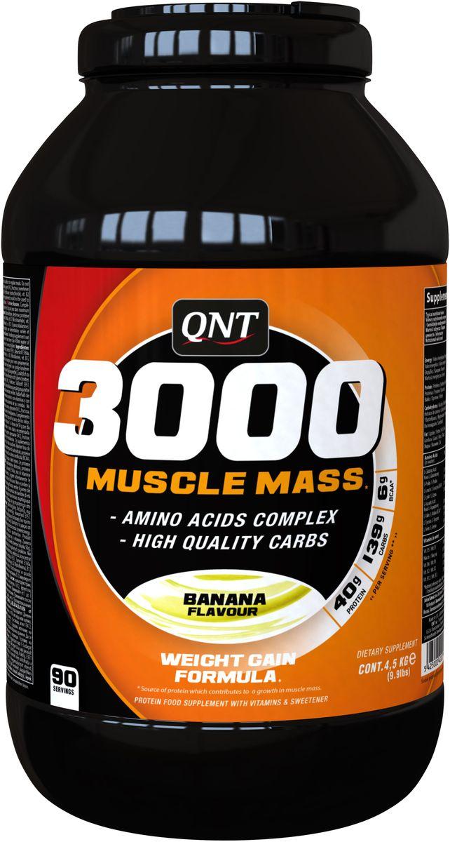QNT 3000 Muscle Mass, Банан, 4,5 кгQNT09473005 Muscle Mass незаменимая добавка в период набора мышечной массы. Формула влючает сывороточный протеин, незаменимые аминокислоты, комплекс витаминов и высококачественные углеводы. В каждой порции 6,5 гр BCAA!