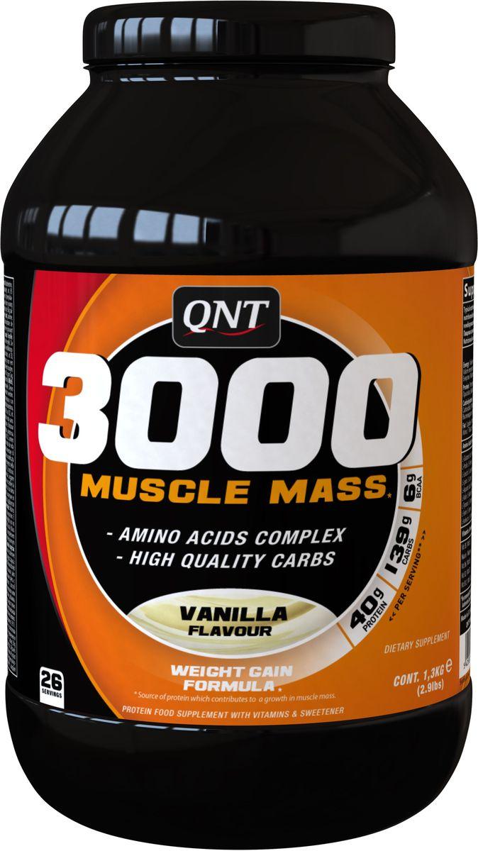 QNT 3000 Muscle Mass, Ваниль, 1,3 кгQNT09993002 Muscle Mass незаменимая добавка в период набора мышечной массы. Формула влючает сывороточный протеин, незаменимые аминокислоты, комплекс витаминов и высококачественные углеводы. В каждой порции 6,5 гр BCAA!