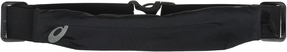Сумка поясная для бега Asics Waistbelt, цвет: черный142209-0904Компактная поясная сумка Asics Waistbelt, выполненная из высококачественного спандекса, отлично подойдет для переноски самого необходимого. Сумка содержит одно небольшое основное отделение на застежке-молнии. Отделение закрывается с внутренней стороны. Сбоку имеется петля для подвешивания брелоков или ключей. Поясной ремень фиксируется при помощи пластикового карабина. Длина ремня регулируется.