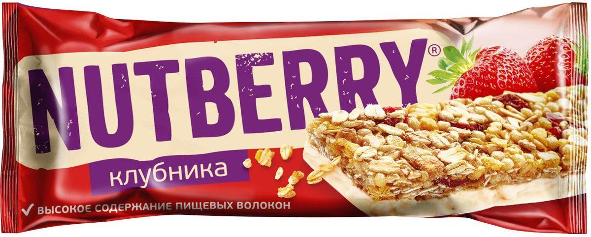 Nutberry глазированный батончик из сухофруктов мюсли клубничный, 30 г