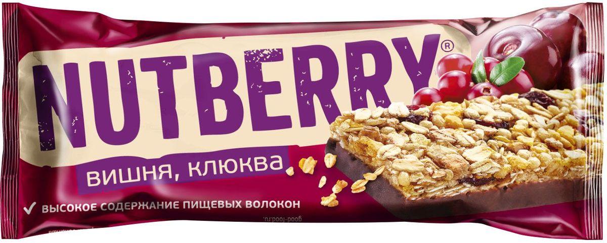 Nutberry глазированный батончик из сухофруктов мюсли с вишней и клюквой, 30 г4620000678557Батончик мюсли Nutberry Клюква с вишней - отличная альтернатива традиционным сладостям. В батончике сочетается кислинка клюквы и вишни с мягким вкусом меда и шоколадной глазури. Натуральные сухофрукты, пшеничные, рисовые и овсяные хлопья – источники энергии на каждый день.