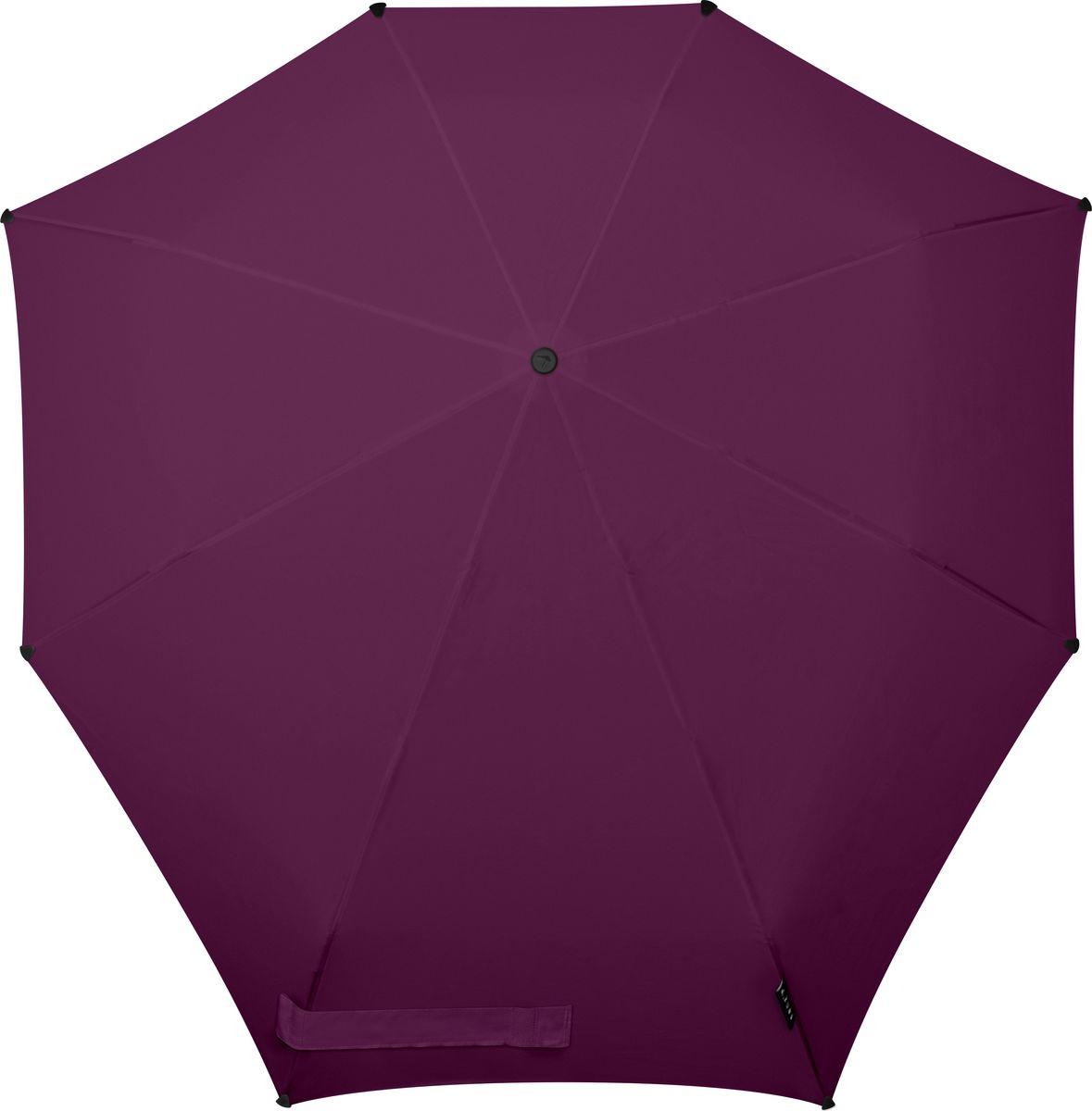 Зонт Senz, цвет: фиолетовый. 10210321021032Инновационный противоштормовый зонт, выдерживающий любую непогоду. Входит в коллекцию urban breeze, разработанную в соответствии с современными течениями fashion-индустрии. Зонт Senz отлично дополнит образ, подчеркнет индивидуальность и вкус своего обладателя. Легкий, компактный и прочный он открывается и закрывается нажатием на кнопку. Закрывает спину от дождя, а благодаря своей усовершенствованной конструкции, зонт не выворачивается наизнанку даже при сильном ветре. Модель Senz automatic выдержала испытания в аэротрубе со скоростью ветра 80 км/ч. - тип — автомат - три сложения - выдерживает порывы ветра до 80 км/ч - УФ-защита 50+ - эргономичная ручка - безопасные колпачки на кончиках спиц - в комплекте плотный чехол - гарантия 2 года
