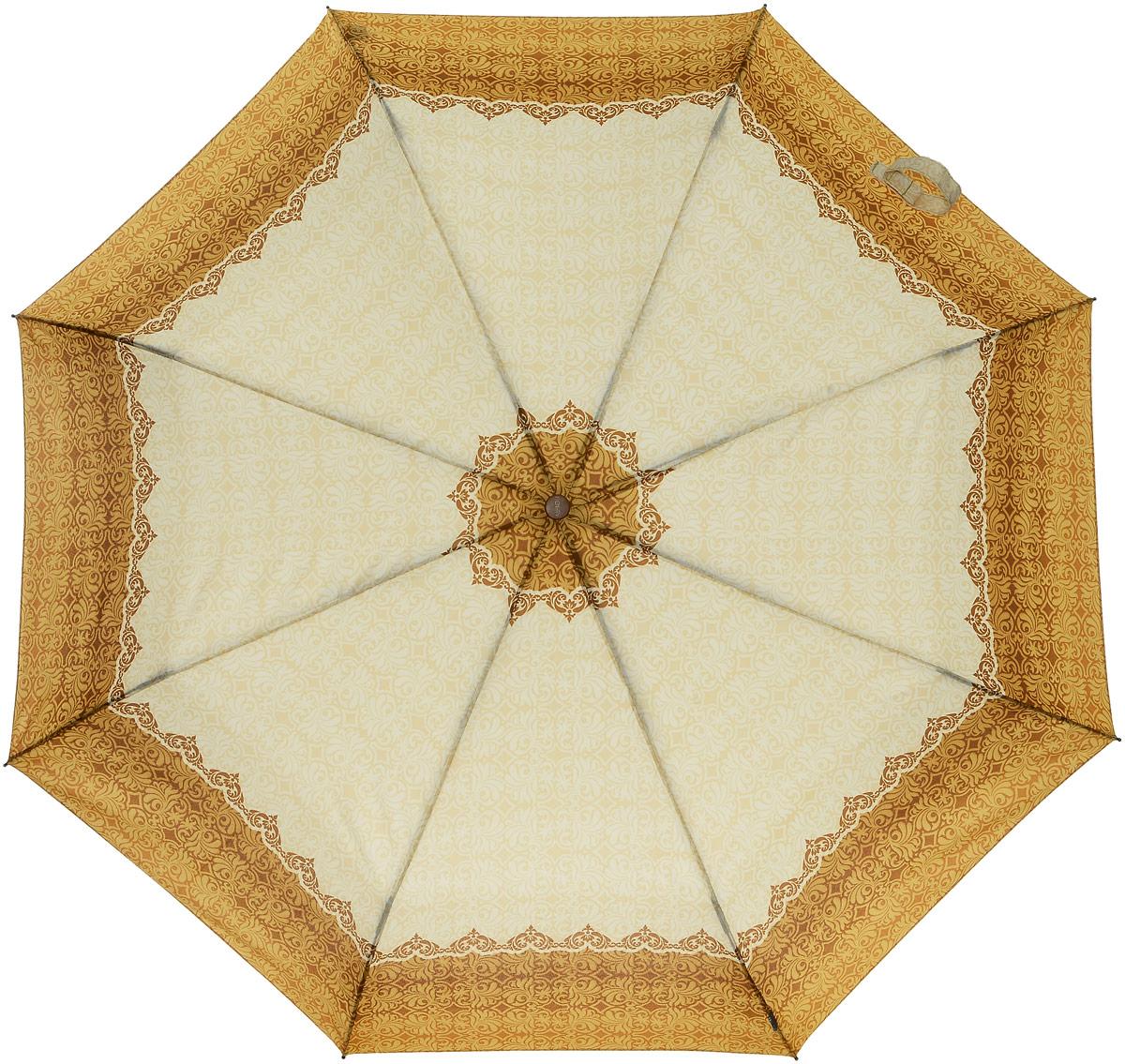 Зонт женский Airton, механический, 3 сложения, цвет: оранжевый, слоновая кость. 3535-1503535-150Классический женский зонт Airton в 3 сложения имеет механическую систему открытия и закрытия. Каркас зонта выполнен из восьми спиц на прочном стержне. Купол зонта изготовлен из прочного полиэстера. Практичная рукоятка закругленной формы разработана с учетом требований эргономики и выполнена из натурального дерева. Такой зонт оснащен системой антиветер, которая позволяет спицам при порывах ветрах выгибаться наизнанку, и при этом не ломаться. К зонту прилагается чехол.