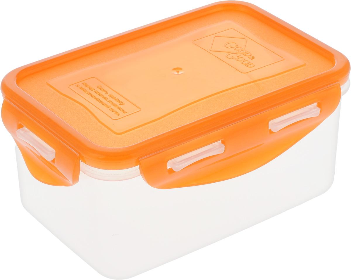 Контейнер пищевой Good&Good, цвет: прозрачный, оранжевый, 800 мл. B/COL 2-2B/COL 2-2Прямоугольный контейнер Good&Good изготовлен из высококачественного полипропилена и предназначен для хранения любых пищевых продуктов. Благодаря особым технологиям изготовления, лотки в течение времени службы не меняют цвет и не пропитываются запахами. Крышка с силиконовой вставкой герметично защелкивается специальным механизмом. Контейнер Good&Good удобен для ежедневного использования в быту. Можно мыть в посудомоечной машине и использовать в микроволновой печи, пригоден для хранения в морозильной камере. Размер контейнера (с учетом крышки): 16 х 11 х 7,5 см.