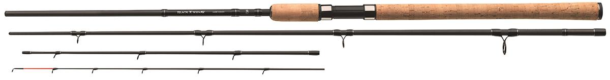 Удилище фидерное Daiwa Black Widow Feeder, 3,6 м, до 150 г54204Модели с тестом 150г - классические универсальные фидерные удилища, которые можно использовать на реках с сильным течением, но и на закрытых водоемах. Мощный бланк обладает достаточным резервом для ловли усача. Кольца с большим диаметром, установленные на кивертипах, позволяют использовать шоклидеры.