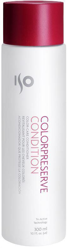 ISO Color Preserve Condition - Кондиционер для окрашенных волос, 300 мл974013Кремообразный, белого цвета, эластичный, с приятным запахом, легко наносится, обволакивая каждый волосок. За счет легкого веса отлично проникает под кутикулу, питая и увлажняя. Увлажняет, питает, придает блеск. Специальная технология Solar Seal 3 запечатывает цвет. Гуаровая смола – сглаживает кутикулу. Витамин С – защита от воздействия свободных радикалов. Содержит запатентованный компонент ISOамин, благодаря которому волосы становятся более эластичными, гладкими, легче поддаются укладке. Результат: Гладкие, блестящие, наполненные жизненной энергией волосы с оживленным цветом, подготовленные к процессу укладки. Секреты применения: Второй шаг для запечатывания цвета! Если держать на волосах 5 минут при воздействии тепла – эффект питающей маски. Можно использовать как крем для рук. А если запечатать руки в целлофан или одеть перчатки – как эффективную маску для кожи рук. При воздействии дополнительного тепла проникает глубже в структуру волоса.