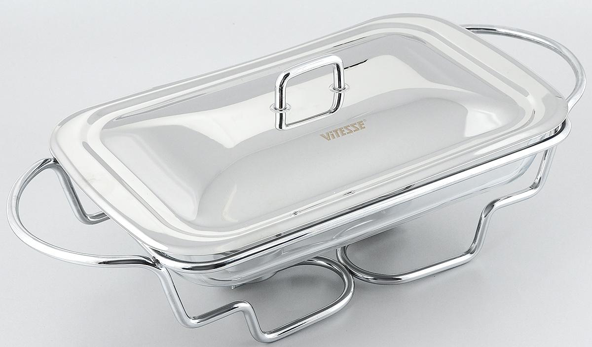 Мармит Vitesse Annabel с крышкой, с подогревом, 2,4 лVS-1533Мармит Vitesse Annabel прямоугольной формы изготовлен из термостойкого прозрачного стекла. Мармит предназначен для приготовления блюд в духовке и микроволновой печи. Мармит с приготовленным блюдом можно сразу подавать на стол, не перекладывая на сервировочные тарелки. Мармит помещается на металлическую подставку с двумя подсвечниками для чайных свечей (входят в комплект). Свечи обеспечивают легкий подогрев блюд и не дают им остыть. Изделие также оснащено крышкой из нержавеющей стали. Элегантный дизайн изящно украсит стол. Можно использовать в духовом шкафу, микроволновой печи (без подставки) и мыть в посудомоечной машине. Размер мармита: 34 х 20,5 см. Высота стенки: 5 см. Размер подставки: 46,5 х 22 х 11 см. Диаметр подсвечника: 4 см.