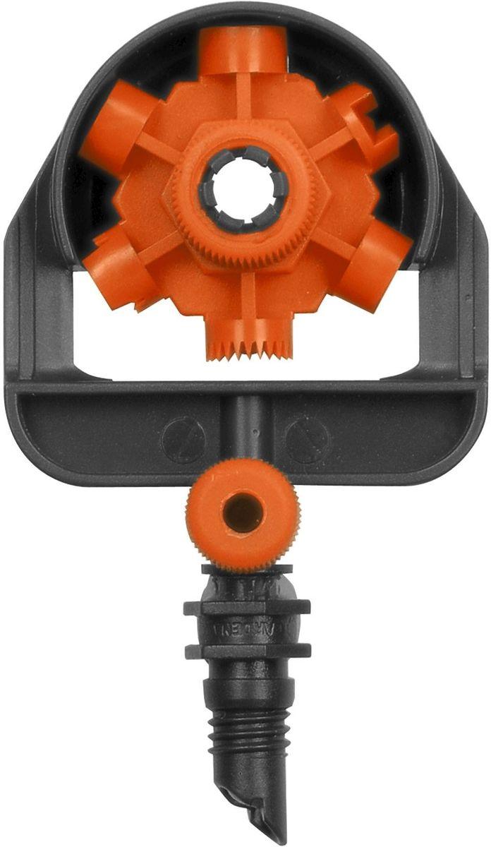 Микродождеватель шестипозиционный Gardena, 5 шт. 01396-29.000.0001396-29.000.00Микродождеватель шестипозиционный GARDENA является элементом системы микрокапельного полива GARDENA Micro-Drip-System и идеально подходит для полива участков различной конфигурации. С помощью регулятора можно легко выбирать один из режимов полива. Предусмотрены следующие режимы: 90 °, 180 °, 270 °, 360 °, полоса и двойная полоса. Для повышения функциональности инструмента предусмотрена возможность регулирования потока по каждому отдельному режиму. С помощью надставки (арт. 1377-20) можно повысить уровень расположения микронасадки, благодаря чему обеспечивается оптимальный полив даже высоких растений. В комплект поставки входят два микродождевателя.