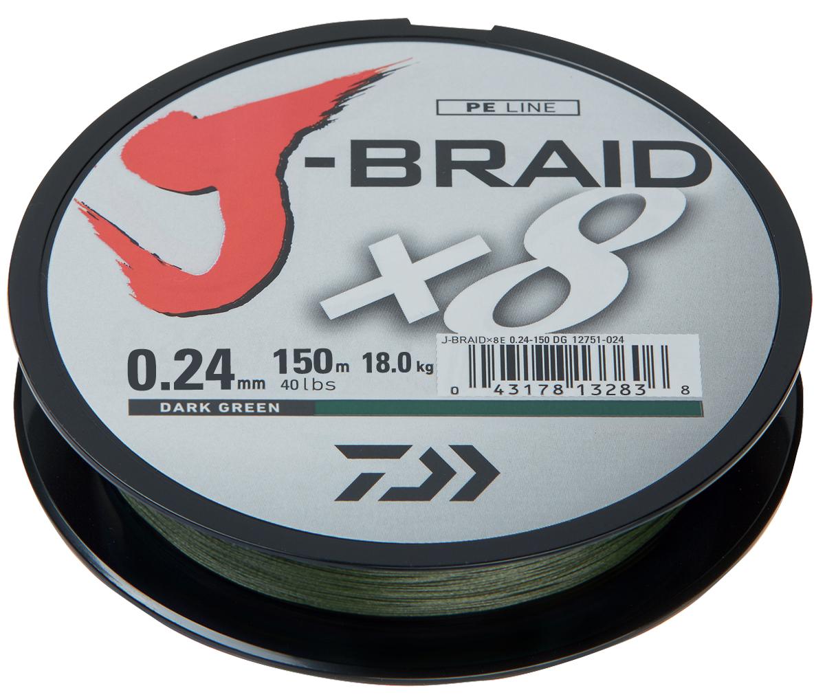 Шнур плетеный Daiwa J-Braid X8, цвет: зеленый, 150 м, 0,24 мм61105J-Braid от DAIWA - исключительный шнур с плетением в 8 нитей. Он полностью удовлетворяет всем требованиям, предъявляемым высококачественным плетеным шнурам. Неважно, собрались ли вы ловить крупных морских хищников, как палтус, треска или сайда, или окуня и судака, с вашим новым J-Braid вы всегда контролируете рыбу. J-Braid предлагает соответствующий диаметр для любых техник ловли: море, река или озеро - невероятно прочный и надежный. J-Braid скользит через кольца, обеспечивая дальний и точный заброс даже самых легких приманок. Идеален для спиннинговых и бейткастинговых катушек! Невероятное соотношение цены и качества!