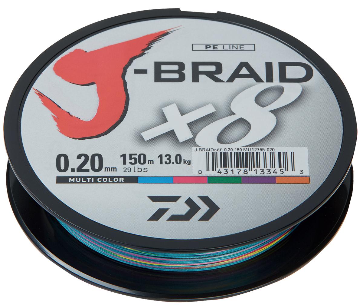 """Шнур плетеный Daiwa """"J-Braid X8"""", цвет: мультиколор, 150 м, 0,20 мм 61122"""