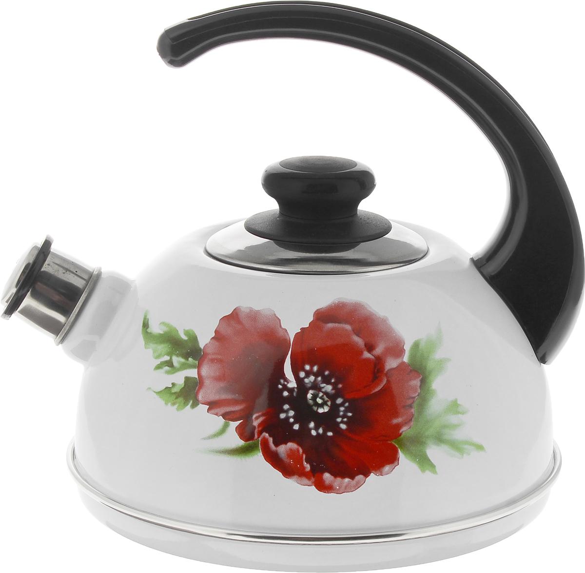 Чайник Рубин, со свистком, цвет: белый, красный, 2,5 лT04/25/03/04Чайник Рубин изготовлен из высококачественной стали с эмалированным покрытием и оформлен изображением цветка. Чайник оснащен удобной пластиковой ручкой. Носик чайника имеет съемный свисток, звуковой сигнал которого подскажет, когда закипит вода. Чайник подходит для газовых, электрических и стеклокерамических плит. Диаметр чайника (по верхнему краю): 8,5 см. Высота чайника (без учета ручки и крышки): 11см. Высота чайника (с учетом ручки): 21 см.