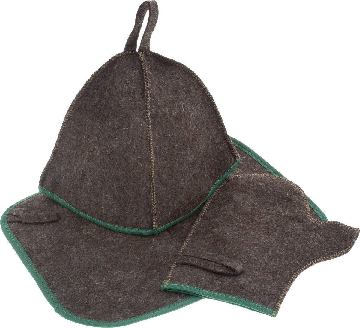 Набор для бани и сауны Proffi Sauna, цвет: темно-коричневый, зеленый, 3 предметаPS0184_зеленый кантОригинальный набор для бани Proffi Sauna включает в себя шапку, рукавицу и коврик. Изделия выполнены из 90% шерсти и 10% лавсана, декорированы кантом. Шапка, рукавица и коврик - это незаменимые аксессуары для любителей попариться в русской бане и для тех, кто предпочитает сухой жар финской бани. Шапка защитит волосы от сухости и ломкости, голову от перегрева и предотвратит появление головокружения. Рукавица обезопасит ваши руки от появления ожогов, а коврик - от высоких температур при контакте с горячей лавкой в парилке. На изделиях имеются петельки, с помощью которых их можно повесить на крючок в предбаннике. Такой набор станет отличным подарком для любителей отдыха в бане или сауне. Размер коврика: 40 х 31 см. Размер шапки: 18 х 18 х 25 см. Размер рукавицы: 27 х 22 см.