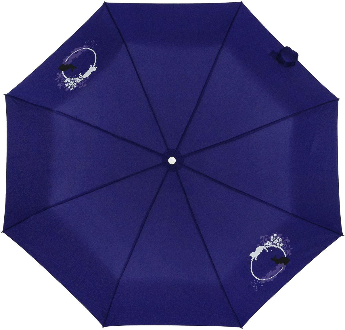 Зонт женский Airton, механический, 3 сложения, цвет: синий, белый. 3512-0953512-095Оригинальный однотонный женский зонт в 3 сложения с миниатюрным цветочным принтом. Данная модель оснащена механической системой открытия и закрытия. Удобная ручка выполнена из пластика в тон основному цвету купола зонта. Модель зонта выполнена в стандартном размере, оснащена системой Антиветер. Этот стильный аксессуар поместится практически в любую женскую сумочку благодаря своим небольшим размерам.