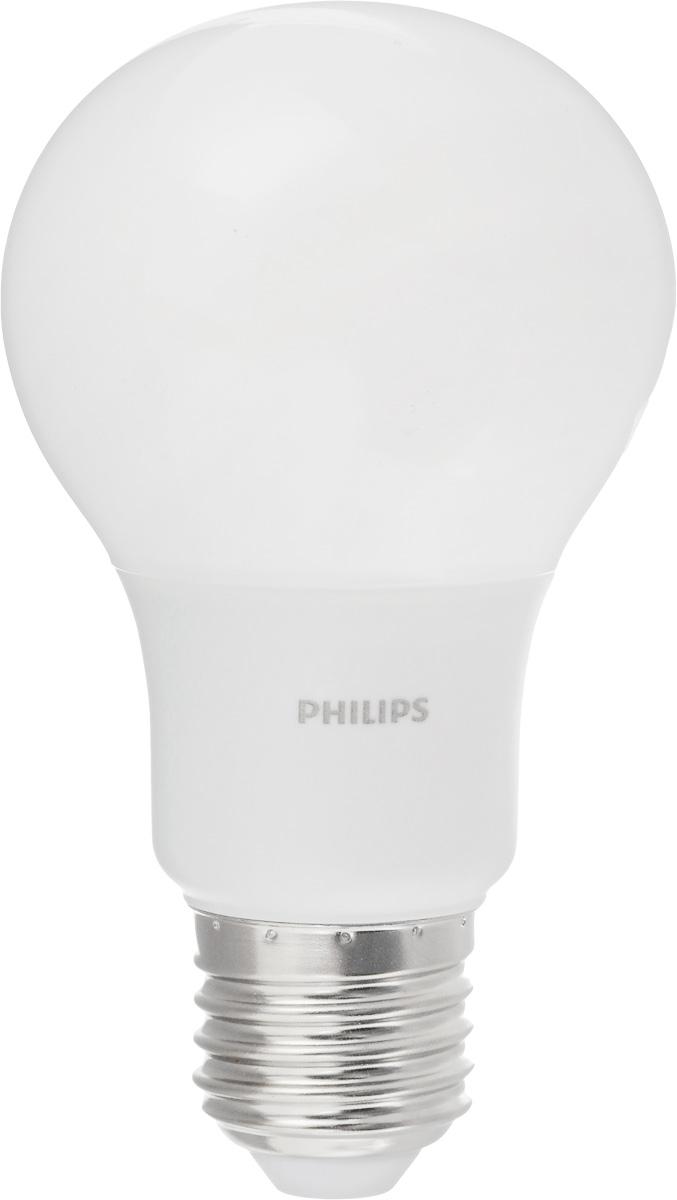 Лампа светодиодная Philips LED bulb, цоколь E27, 7W, 3000KЛампа LEDBulb 7-60W E27 6500K 230VA60/PFСовременные светодиодные лампы LED bulb экономичны, имеют долгий срок службы и мгновенно загораются, заполняя комнату светом. Лампа оригинальной формы и высокой яркости позволяет создать уютную и приятную обстановку в любой комнате вашего дома. Светодиодные лампы потребляют на 88% меньше электроэнергии, чем обычные лампы накаливания, излучая при этом привычный и приятный теплый свет. Срок службы светодиодной лампы LED bulb составляет до 15000 часов, что соответствует общему сроку службы пятнадцати ламп накаливания. Благодаря чему менять лампы приходится значительно реже, что сокращает количество отходов. Напряжение: 220-240 В. Световой поток: 600 lm. Эквивалент мощности в ваттах: 60 Вт.