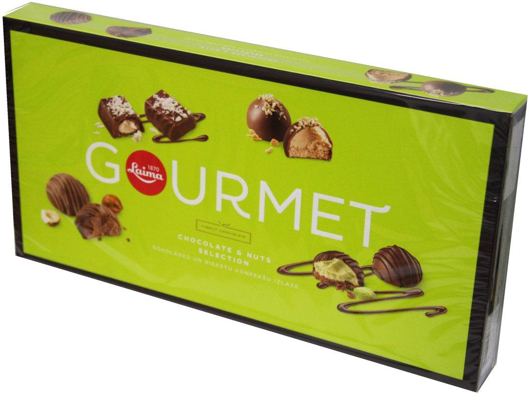 Laima Gourmet ассорти конфет из темного шоколада с ореховыми начинками, 230 гP111940210Трюфель с начинкой джиандуя, кокосовый крем, арахисовый трюфель, фисташковый трюфель.