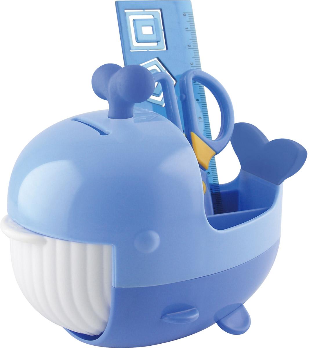 Brauberg Канцелярский набор Кит цвет синий 4 предмета231935_синийКанцелярский набор Brauberg Кит выполнен из высококачественного яркого пластика и позволяет практично, удобно и оригинально организовать место для учебы и развлечений ребенка. Подставка для канцелярских принадлежностей выполнена в виде кита с открывающейся пастью, внутри которой располагается дополнительное отделение для хранения. Хвост кита и фонтанчик на его голове являются съемными ластиками. В набор также входят: сантиметровая линейка с вырубками-трафаретами в виде геометрических фигур, безопасные ножницы, ластик, канцелярские скрепки. Необычный канцелярский набор понравится любому школьнику и сделает учебу более интересной.