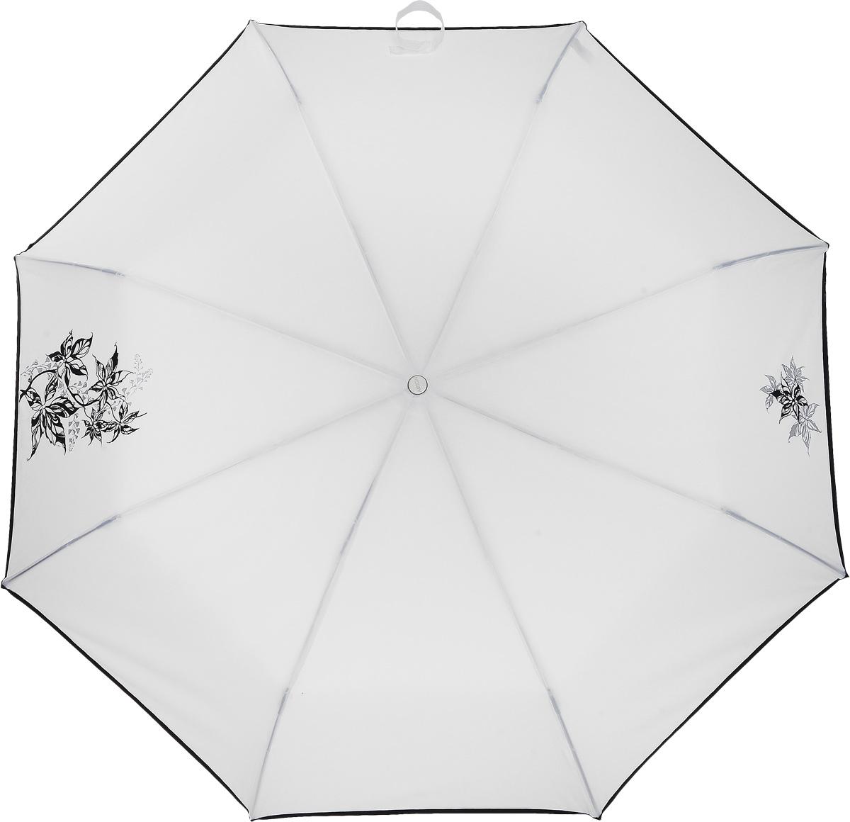 Зонт женский Airton, механический, 3 сложения, цвет: белый, черный. 3512-293512-29Оригинальный однотонный женский зонт в 3 сложения с миниатюрным цветочным принтом. Данная модель оснащена механической системой открытия и закрытия. Удобная ручка выполнена из пластика в тон основному цвету купола зонта. Модель зонта выполнена в стандартном размере, оснащена системой Антиветер. Этот стильный аксессуар поместится практически в любую женскую сумочку благодаря своим небольшим размерам.