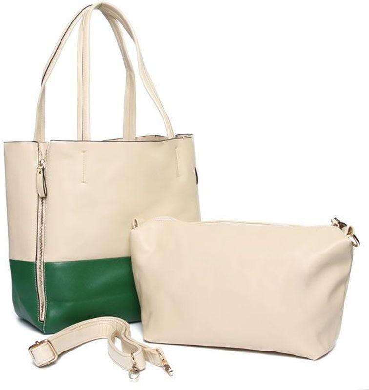 Сумка женская Milana, цвет: светло-бежевый, зеленый. 125057-2-1125057-2-1Яркая и изящная женская сумка Milana изготовлена из искусственной кожи. Внутренняя подкладка выполнена из искусственного шелка. Сумка закрывается на застежку молнию. Модель имеет вместительный основной отдел, в котором прикреплен объемный клатч. Внутри клатча один отдел. На задней стенке основного отдела расположен карман для документов на молнии и карман для мобильного телефона. Модель оснащена ручками на запястье и съемным плечевым ремешком. Оригинальный аксессуар позволит вам завершить образ и быть неотразимой.