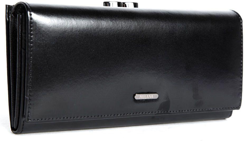 Портмоне женское Milana, цвет: черный. 152-6-10152-6-10Элегантное портмоне, внутри 4 отделения, 1 на молнии + 10 кармашков для кредитных карт и визиток + 2 кармашка для sim-карт, внешнее отделение для монет.