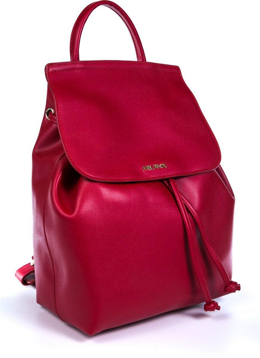 Рюкзак женский Milana, цвет: красный. 161638-1-140161638-1-140Стильный женский рюкзак Milana идеально подойдет под ваш образ. Он выполнен из качественной искусственной кожи. Внутри расположено главное отделение, которое дополнено клапаном и утягивается шнурком. Рюкзак оснащен широкими лямками, длина которых регулируется с помощью пряжек, и дополнен верхней петлей для подвешивания. Такой модный и удобный рюкзак станет незаменимым аксессуаром в вашем гардеробе.
