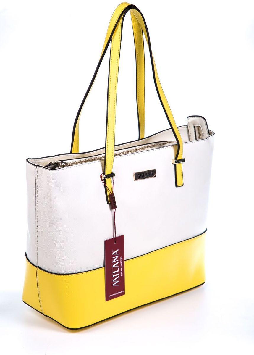 Сумка женская Milana, цвет: белый, желтый. 161643-1-170161643-1-170Стильная женская сумка Milana изготовлена из искусственной кожи. Внутренняя подкладка выполнена из искусственного шелка. Сумка закрывается на застежку молнию. Внутри имеется одно основное отделение, которое оснащено одним втачным карманом на молнии и двумя накладными открытыми кармашками. Модель оснащена ручками на запястье. Оригинальный аксессуар позволит вам завершить образ и быть неотразимой.