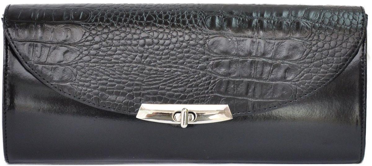 Сумка женская Milana, цвет: черный. 171065-1-110171065-1-110Удобная женская сумка Milana изготовлена из натуральной кожи. Внутренняя подкладка выполнена из качественного полиэстера. Сумка закрывается на металлическую вертушку. Внутри имеется одно основное отделение. Модель оснащена боковым ремешком, с помощью которого сумку можно носить на запястье. Оригинальный аксессуар позволит вам завершить образ и быть неотразимой.