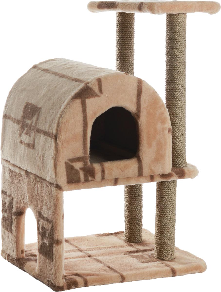 Домик-когтеточка Меридиан, полукруглый, двухэтажный, с полкой, цвет: бежевый, коричневый, 55 х 40 х 85 смД521ГДомик-когтеточка Меридиан выполнен из высококачественного ДВП и ДСП и обтянут искусственным мехом. Изделие предназначено для кошек. Ваш домашний питомец будет с удовольствием точить когти о специальные столбики, изготовленные из джута. А отдохнуть он сможет либо на полке, либо в домике. Домик-когтеточка Меридиан принесет пользу не только вашему питомцу, но и вам, так как он сохранит мебель от когтей и шерсти. Общий размер: 55 х 40 х 85 см. Размер нижнего домика: 40 х 40 х 33 см. Размер полки: 40 х 25 см.