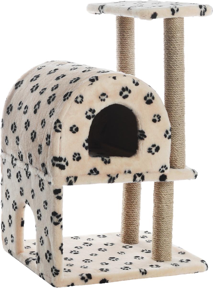Домик-когтеточка Меридиан, полукруглый, двухэтажный, с полкой, цвет: бежевый, черный, 55 х 40 х 85 смД521ЛаДомик-когтеточка Меридиан выполнен из высококачественного ДВП и ДСП и обтянут искусственным мехом. Изделие предназначено для кошек. Ваш домашний питомец будет с удовольствием точить когти о специальные столбики, изготовленные из джута. А отдохнуть он сможет либо на полке, либо в домике. Домик-когтеточка Меридиан принесет пользу не только вашему питомцу, но и вам, так как он сохранит мебель от когтей и шерсти. Общий размер: 55 х 40 х 85 см. Размер нижнего домика: 40 х 40 х 33 см. Размер полки: 40 х 25 см.