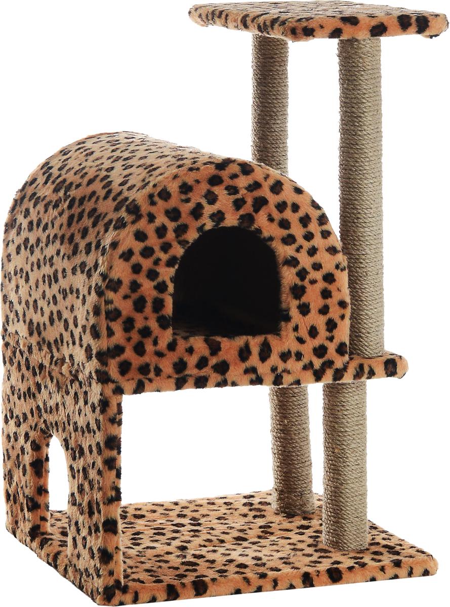Домик-когтеточка Меридиан, полукруглый, двухэтажный, с полкой, цвет: леопардовый, 50 х 42 х 85 смД521ЛеДомик-когтеточка  Полукруглый двухэтажный с полкой, джут 500х420х850 леопардовый