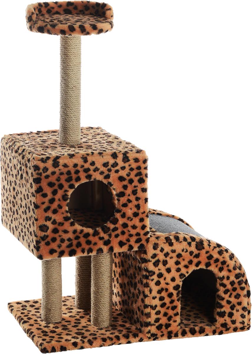 Домик-когтеточка Меридиан, двухуровневый, цвет: леопардовый, 72 х 37 х 110 смД341ЛеДомик-когтеточка Двухуровневый, джут 720х370х1100 леопардовый