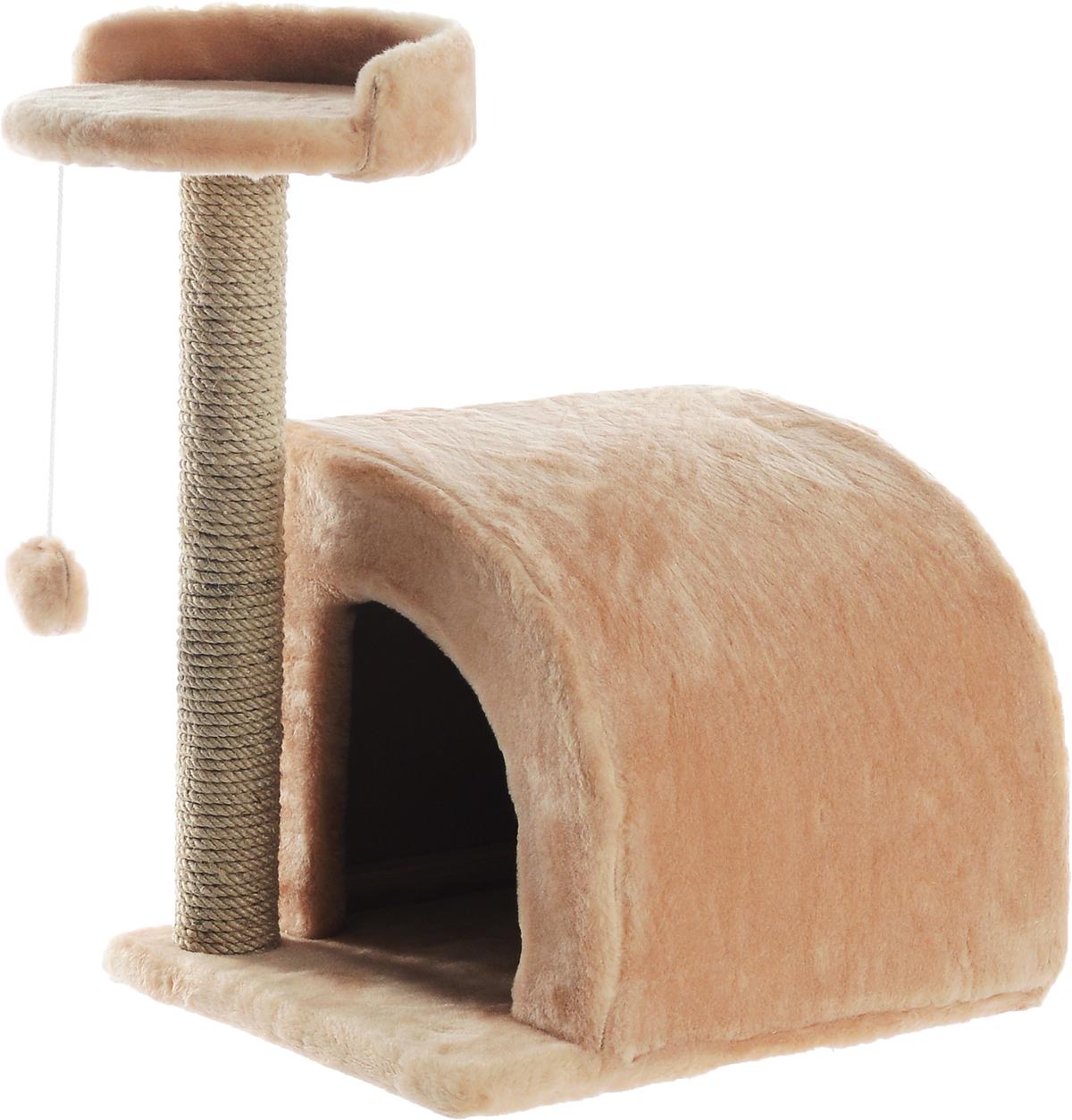 Домик-когтеточка Меридиан, полукруглый, цвет: светло-коричневый, бежевый, 54 х 40 х 59 смД518СКДомик-когтеточка Меридиан выполнен из высококачественного ДВП и ДСП и обтянут искусственным мехом. Изделие предназначено для кошек. Ваш домашний питомец будет с удовольствием точить когти о специальный столбик, изготовленный из джута. А отдохнуть он сможет либо на полке, либо в домике. Изделие снабжено подвесной игрушкой. Домик-когтеточка Меридиан принесет пользу не только вашему питомцу, но и вам, так как он сохранит мебель от когтей и шерсти. Общий размер: 54 х 40 х 59 см. Размер домика: 36 х 36 х 32 см. Размер полки: 27 х 26 см.
