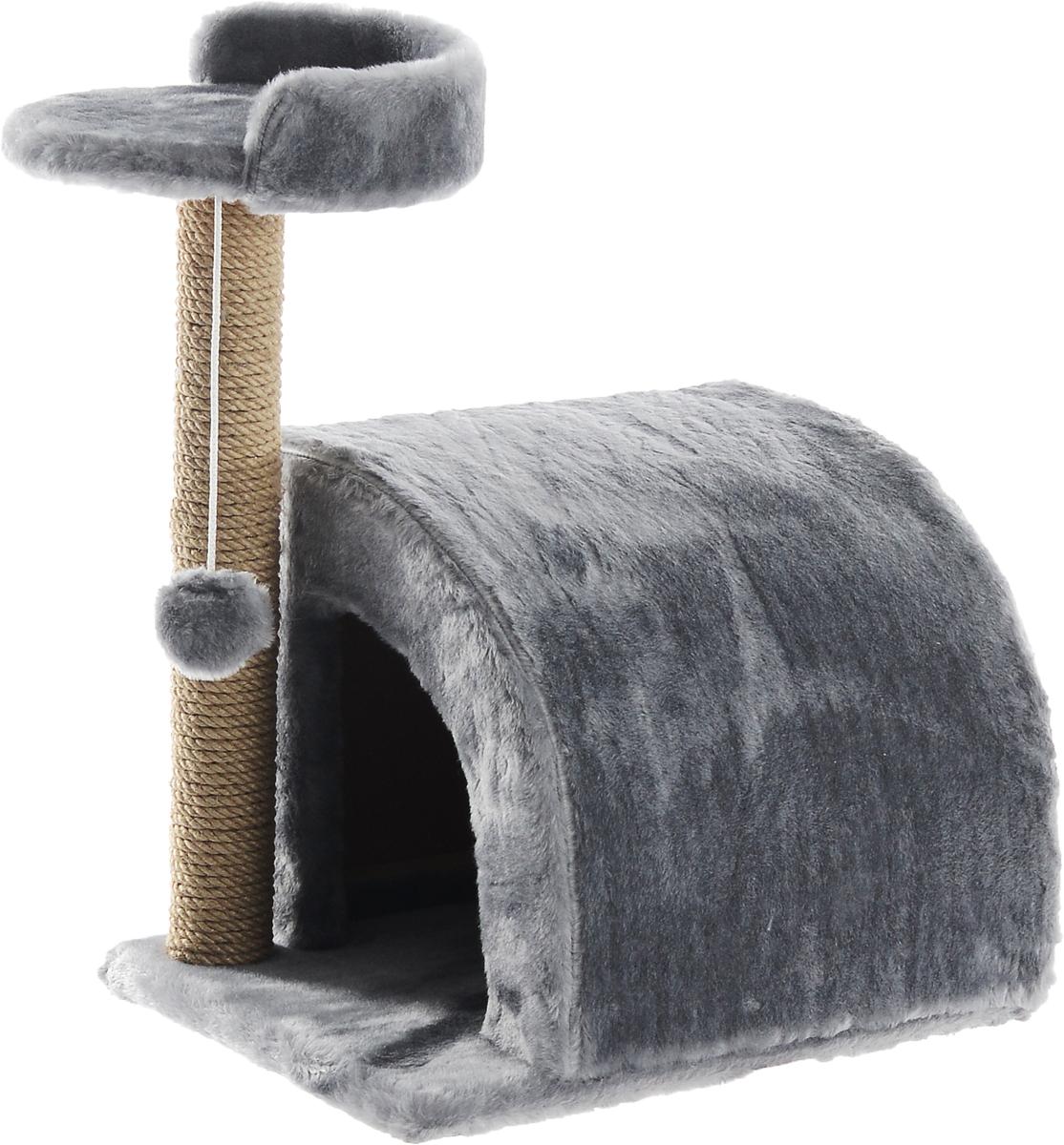 Домик-когтеточка Меридиан, полукруглый, цвет: светло-серый, бежевый, 54 х 40 х 59 смД518ССДомик-когтеточка Меридиан выполнен из высококачественного ДВП и ДСП и обтянут искусственным мехом. Изделие предназначено для кошек. Ваш домашний питомец будет с удовольствием точить когти о специальный столбик, изготовленный из джута. А отдохнуть он сможет либо на полке, либо в домике. Изделие снабжено подвесной игрушкой. Домик-когтеточка Меридиан принесет пользу не только вашему питомцу, но и вам, так как он сохранит мебель от когтей и шерсти. Общий размер: 54 х 40 х 59 см. Размер домика: 36 х 36 х 32 см. Размер полки: 27 х 26 см.