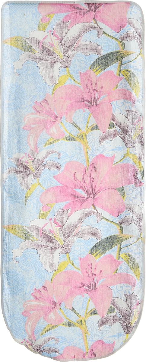 Чехол для гладильной доски Eva Лилии, цвет: голубой, розовый, 125 х 47 смЕ13_голубой, розовыйХлопчатобумажный чехол Eva Лилии для гладильной доски с поролоновым слоем продлит срок службы вашей гладильной доски. Чехол снабжен стягивающим шнуром, при помощи которого вы легко отрегулируете оптимальное натяжение чехла и зафиксируете его на рабочей поверхности гладильной доски. При выборе чехла учитывайте, что его размер должен быть больше размера покрытия доски минимум на 5 см. Рекомендуется заменять чехол не реже 1 раза в 3 года. Размер чехла: 125 х 47 см. Максимальный размер доски: 116 х 40 см.