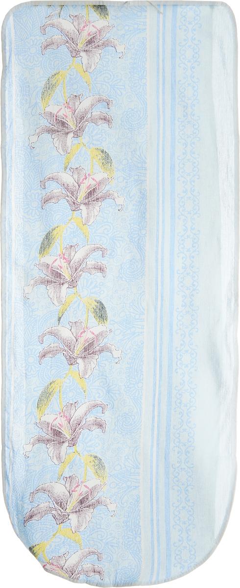 Чехол для гладильной доски Eva Лилии, цвет: голубой, бордовый, белый, 125 х 47 смЕ13_голубой, бордовыйХлопчатобумажный чехол Eva Лилии для гладильной доски с поролоновым слоем продлит срок службы вашей гладильной доски. Чехол снабжен стягивающим шнуром, при помощи которого вы легко отрегулируете оптимальное натяжение чехла и зафиксируете его на рабочей поверхности гладильной доски. При выборе чехла учитывайте, что его размер должен быть больше размера покрытия доски минимум на 5 см. Рекомендуется заменять чехол не реже 1 раза в 3 года. Размер чехла: 125 х 47 см. Максимальный размер доски: 116 х 40 см.