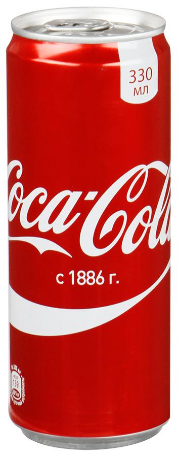 Coca-Cola напиток сильногазированный, 0,33 л14663Кока-Кола - самый популярный наиток за всю историю компании Coca-Cola, был придуман аптекарем Доктором Джоном Пэмбертоном в Аиланте, штат Джорджия в 8 мая 1886 года. Никто не помнит, каким образом сироп доктора Пэмбертона смешался с газированной водой, но новый прохладительный напиток был сразу признан одновременно вкусным и освежающим. Формула Coca-Cola - один из самых тщательно оберегаемых коммерческих секретов всех времен и народов.