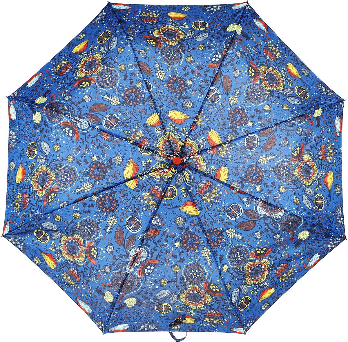 Зонт женский Airton, механический, 3 сложения, цвет: голубой, оранжевый. 3515-1383515-138Классический женский зонт в 3 сложения с механической системой открытия и закрытия. Удобная ручка выполнена из пластика. Модель зонта выполнена в стандартном размере, оснащена системой Антиветер. Этот стильный аксессуар поместится практически в любую женскую сумочку благодаря своим небольшим размерам. Вес зонта- 300 гр.