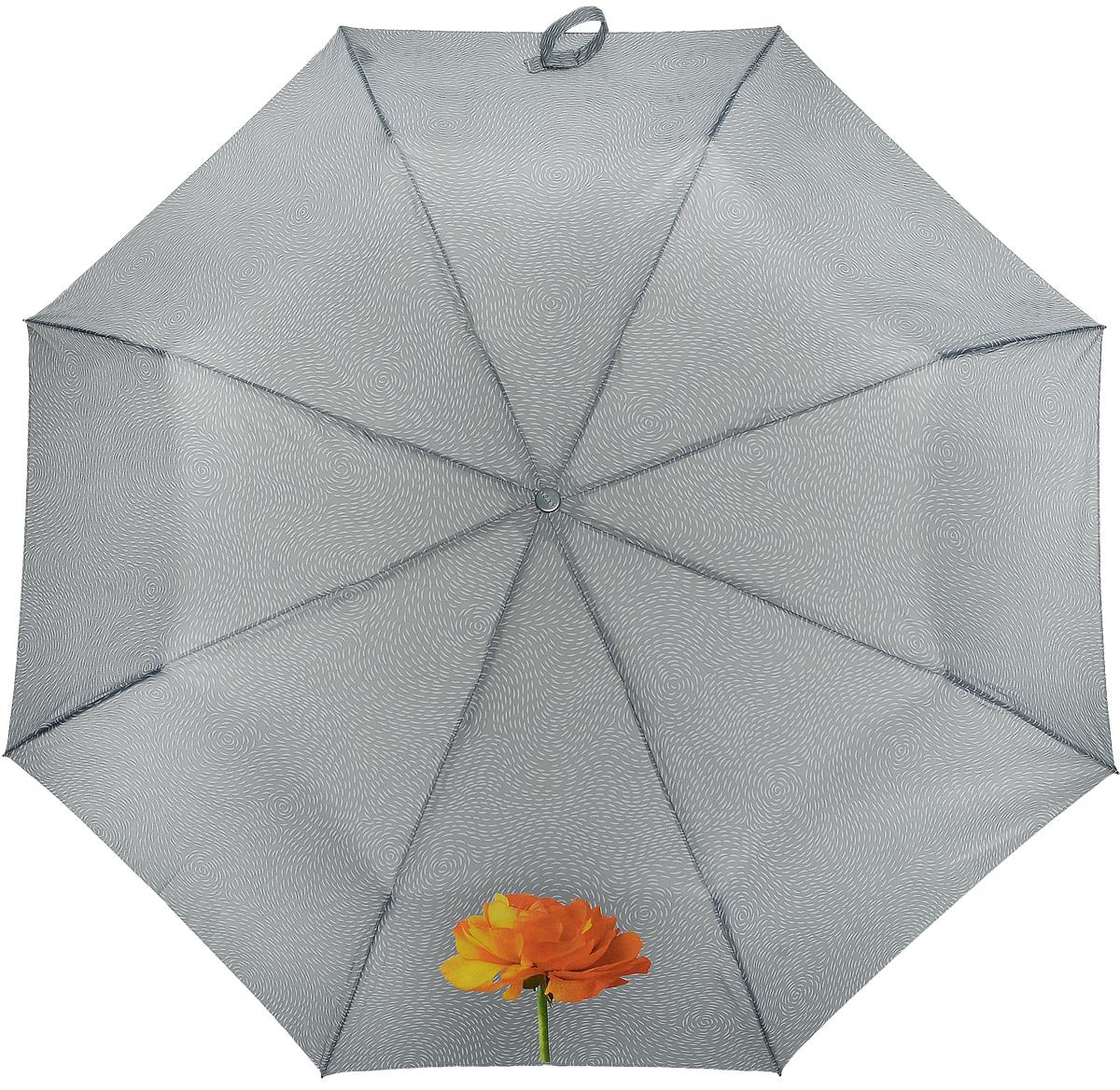 Зонт женский Airton, механический, 3 сложения, цвет: серый, оранжевый. 3511-1833511-183Оригинальный однотонный женский зонт в 3 сложения с миниатюрным цветочным принтом. Данная модель оснащена механической системой открытия и закрытия. Удобная ручка выполнена из пластика в тон основному цвету купола зонта. Модель зонта выполнена в стандартном размере, оснащена системой Антиветер. Этот стильный аксессуар поместится практически в любую женскую сумочку благодаря своим небольшим размерам.