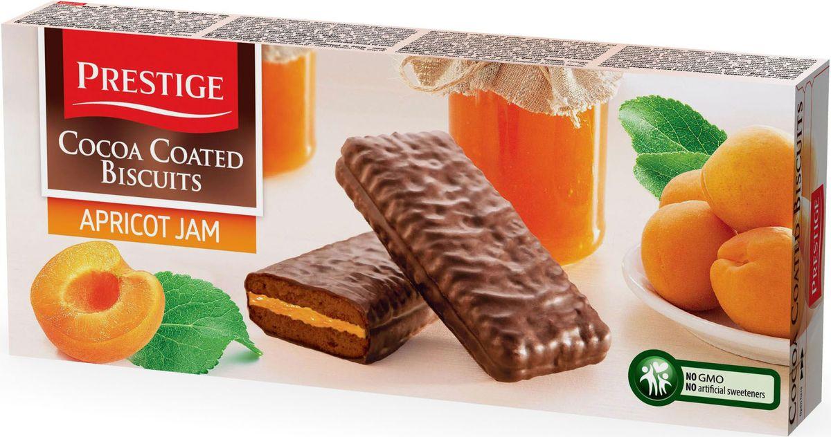Prestige Печенье абрикосовое в какао глазури, 216 г3.58.22Печенье Prestige абрикосовое, покрытое какао глазурью, создано из простых и полезных ингредиентов. Насыщенный мягкий шоколадный вкус подарит массу удовольствия, сам шоколад в сочетании с печеньем зарядит энергией и бодростью с утра и на целый день.