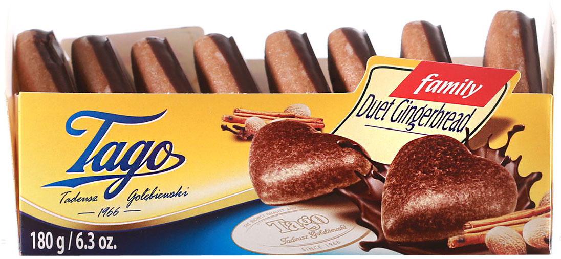 Tago Дуэт темный Пряники, 180 г3.33.02Пряники Дуэт темный – очень романтичный подарок. Сладкие печенья в форме сердечек из темного шоколада.