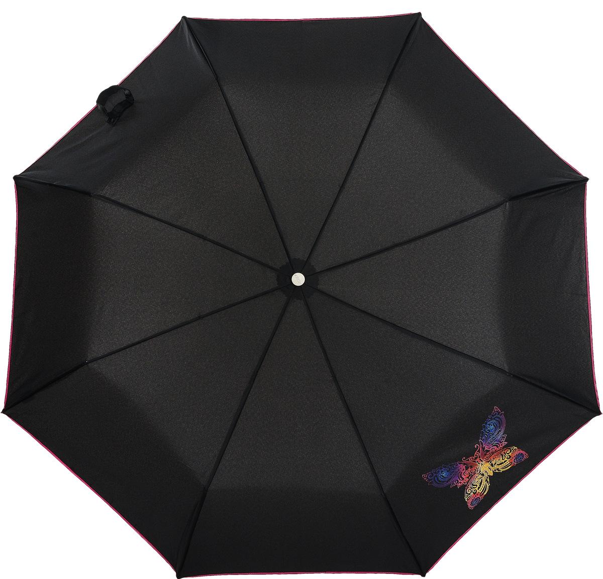 Зонт женский Airton, механический, 3 сложения, цвет: черный, Фуксия. 3512-1063512-106Оригинальный однотонный женский зонт в 3 сложения с миниатюрным цветочным принтом. Данная модель оснащена механической системой открытия и закрытия. Удобная ручка выполнена из пластика в тон основному цвету купола зонта. Модель зонта выполнена в стандартном размере, оснащена системой Антиветер. Этот стильный аксессуар поместится практически в любую женскую сумочку благодаря своим небольшим размерам.