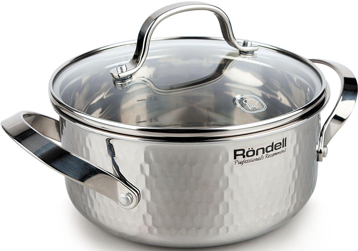 Кастрюля Rondell RainDrops, с крышкой, 2,5 лRDS-828Кастрюля с крышкой 20 см (2,5 л) RainDrops
