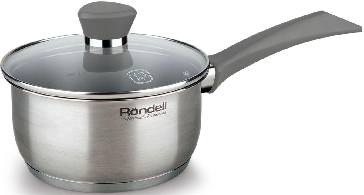 Ковш Rondell Strike, с крышкой, 1,3 л, цвет: серыйRDS-713Ковш с крышкой 16 см (1,3 л) серые ручки Strike Rondell