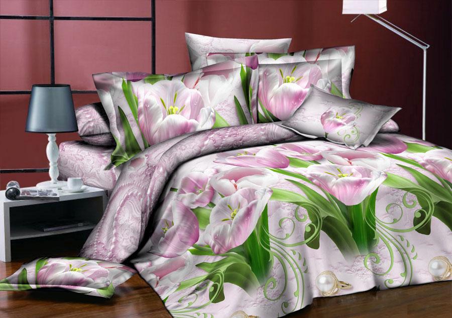 Комплект белья ROKO Лилия, 1,5-спальный, наволочки 70х70, цвет: сиреневый, зеленый, серый меланж115940Комплект белья ROKO состоит из простыни, пододеяльник и 2 наволочек. Для производства постельного белья используются экологичные ткани высочайшего качества. Поплин - это тонкая и легкая хлопчатобумажная ткань высокой плотности полотняного переплетения, сотканная из пряжи высоких номеров. При изготовлении поплина используются длинноволокнистые сорта хлопка, что обеспечивает высокие потребительские свойства материала. Несмотря на свою утонченность, поплин очень практичен – это одна из самых износостойких тканей для постельного белья.