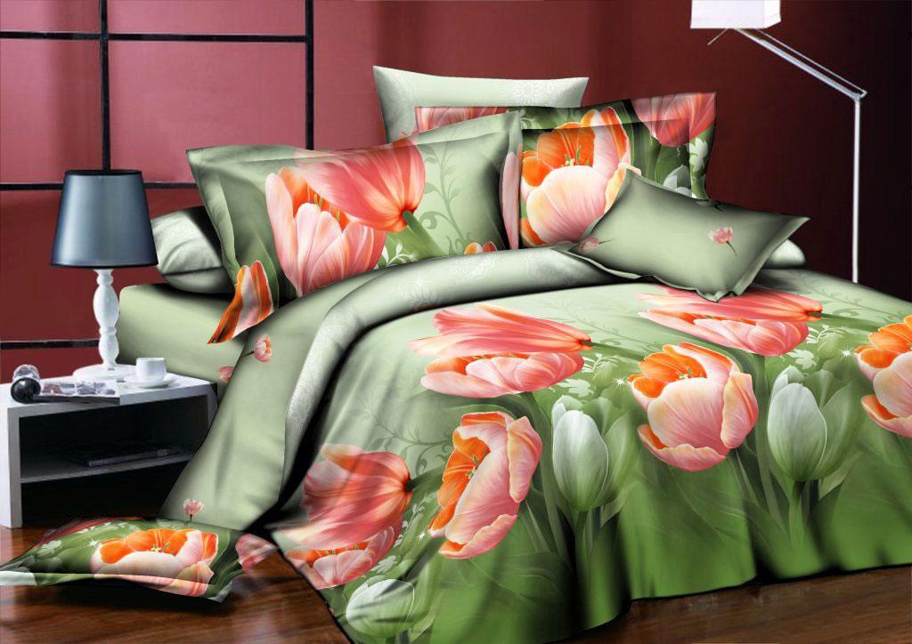 Комплект белья ROKO Тюльпаны, 2-спальный, наволочки 70х70, цвет: зеленый, персиковый115944Комплект белья ROKO состоит из простыни, пододеяльник и 2 наволочек. Для производства постельного белья используются экологичные ткани высочайшего качества. Поплин - это тонкая и легкая хлопчатобумажная ткань высокой плотности полотняного переплетения, сотканная из пряжи высоких номеров. При изготовлении поплина используются длинноволокнистые сорта хлопка, что обеспечивает высокие потребительские свойства материала. Несмотря на свою утонченность, поплин очень практичен – это одна из самых износостойких тканей для постельного белья.