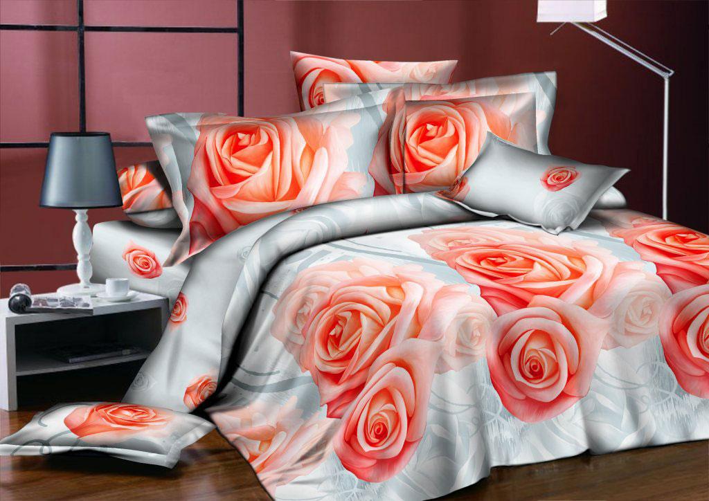 Комплект белья ROKO Розы, семейный, наволочки 70х70, цвет: серый, персиковый115959Комплект белья ROKO состоит из простыни, 2 пододеяльников и 2 наволочек. Для производства постельного белья используются экологичные ткани высочайшего качества. Поплин - это тонкая и легкая хлопчатобумажная ткань высокой плотности полотняного переплетения, сотканная из пряжи высоких номеров. При изготовлении поплина используются длинноволокнистые сорта хлопка, что обеспечивает высокие потребительские свойства материала. Несмотря на свою утонченность, поплин очень практичен – это одна из самых износостойких тканей для постельного белья.