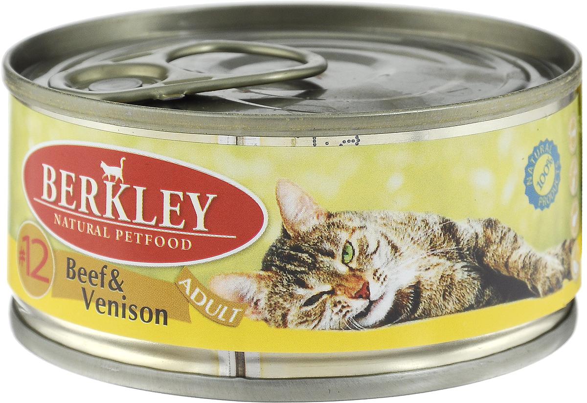 Консервы для кошек Berkley №12, говядина с олениной, 100 г консервы berkley для взрослых кошек с цыпленком и овощами 100 г