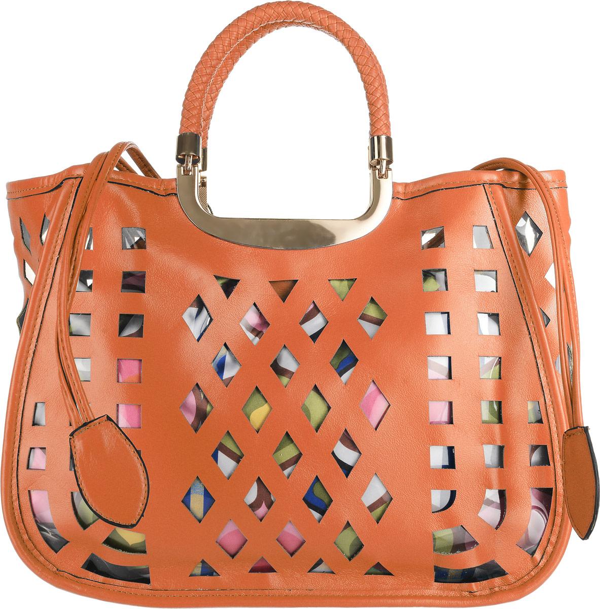 Сумка женская Renee Kler, цвет: оранжевый, мультиколор. RK-08612RK-08612Сумка Renee Kler выполнена из экокожи снаружи и текстиля внутри. Изделие имеет одно вместительное отделение. Снаружи сумка выполнена в классическом ее виде, с прорезными декоративными отверстиями защищенными с обратной стороны прозрачной плотной плёнкой, а внутри находится текстильный яркий мешок на затягивающихся шнурках из экокожи, который видно через эти прорезные отверстия. Внутри главного отделения - два открытых накладных кармана для мелочей и вшитый карман на застежке-молнии. Сумка оснащена двумя ручками с металлическим основанием и упакована в удобный чехол.